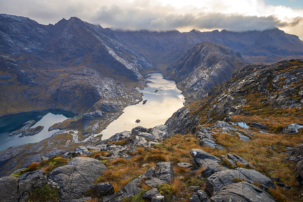 Loch Coruisk and the main Cuillin ridge seen from the top of Sgurr Na Stri on the Isle of Skye, Inner Hebrides, Scottish Highlands, Scotland, United Kingdom, Europe