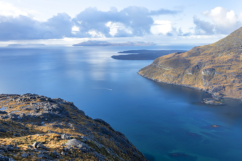 The Isle of Soay seen from the top of Sgurr Na Stri on the Isle of Skye, Inner Hebrides, Scotland, United Kingdom, Europe - 1225-1283