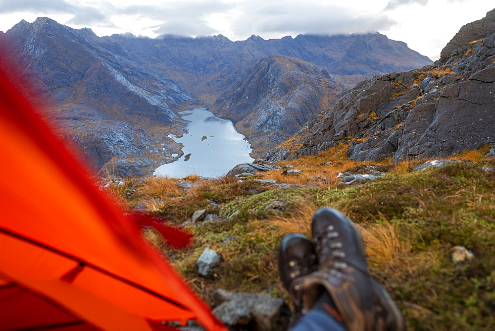 Wild camping on the top of Sgurr Na Stri looking towards Loch Coruisk and the main Cuillin ridge, Isle of Skye, Inner Hebrides, Scotland, United Kingdom, Europe - 1225-1285
