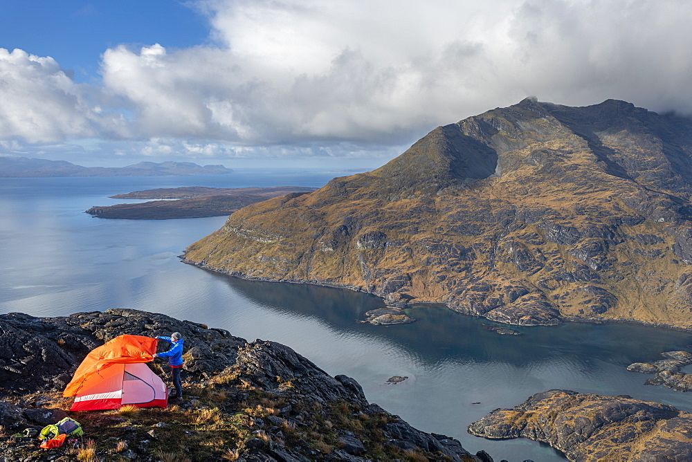 Wild camping on the top of Sgurr Na Stri looking towards Loch Coruisk and the main Cuillin ridge, Isle of Skye, Inner Hebrides, Scotland, United Kingdom, Europe - 1225-1286