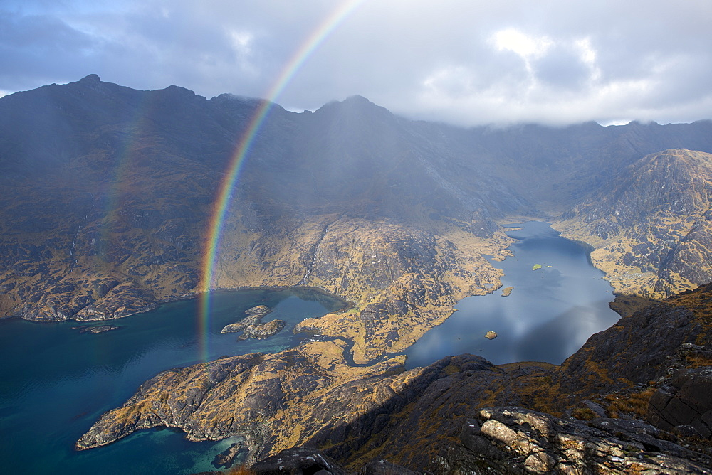 A rainbow above Loch Coruisk and the main Cuillin ridge seen from the top of Sgurr Na Stri on the Isle of Skye, Inner Hebrides, Scotland, United Kingdom, Europe - 1225-1287