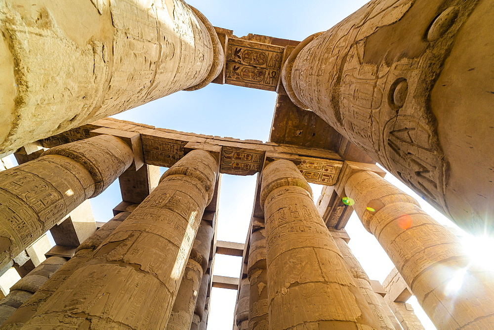 Pillars decorated with Hieroglyphics in the Great Hypostyle Hall at Karnak Temple, Thebes, UNESCO World Heritage Site, Egypt, North Africa, Africa - 1225-1361