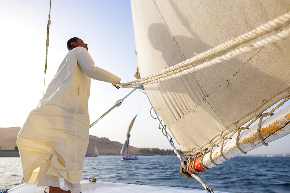 An Egyptian man stands on the bow of a traditional Felucca sailboat with wooden masts and cotton sails on the River Nile, Aswan, Egypt, North Africa, Africa