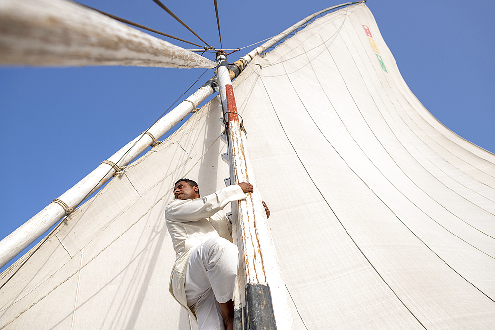 An Egyptian man climbs the mast of a traditional Felucca sailboat with wooden masts and cotton sails on the River Nile, Aswan, Egypt, North Africa, Africa - 1225-1363