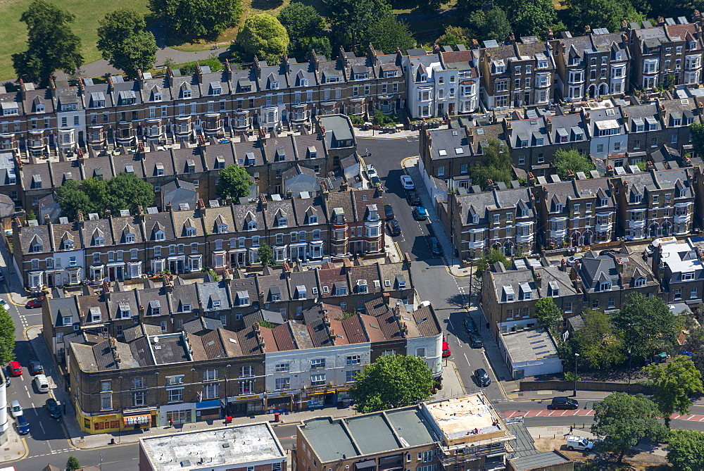 An aerial view of residential streets in London