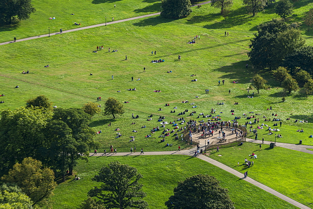 An aerial view of Primrose Hill in north London, England, United Kingdom, Europe