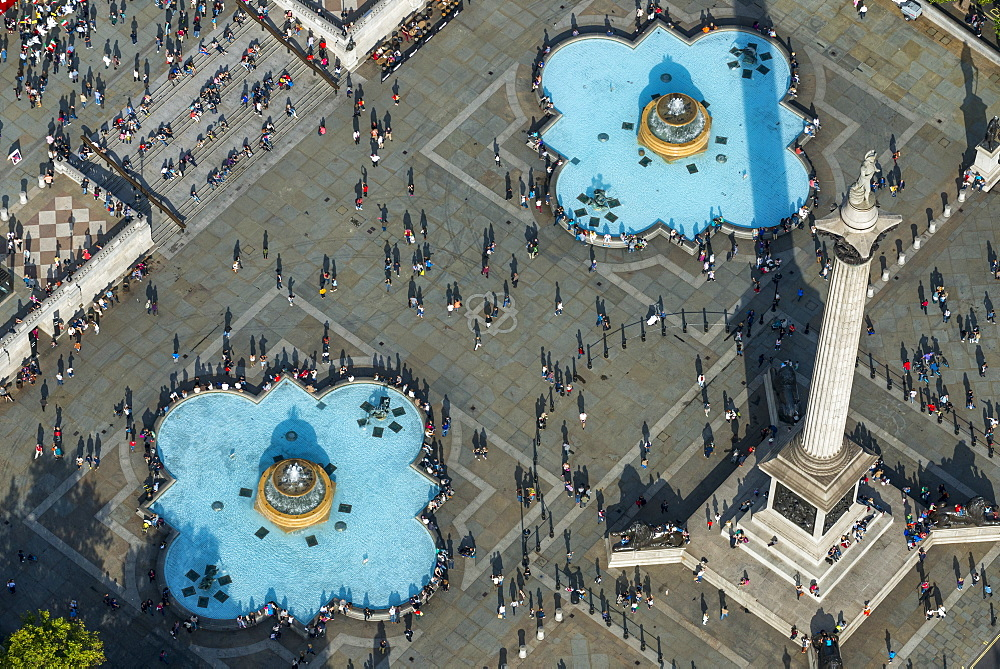 An aerial view of Trafalgar Square in London