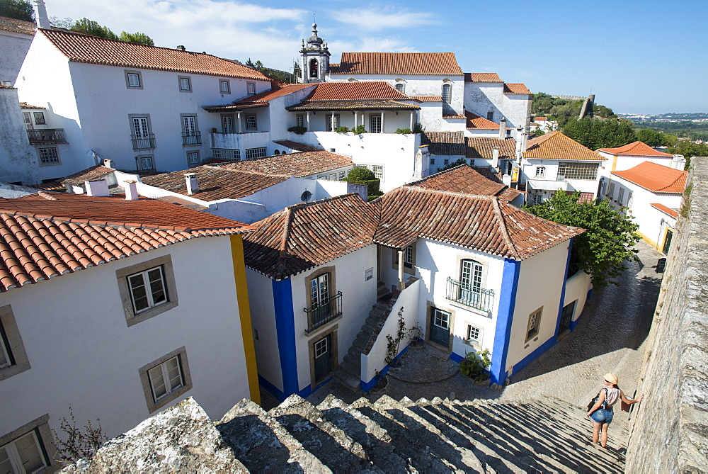 The traditional little village of Obidos in the Leiria district, Portugal, Europe