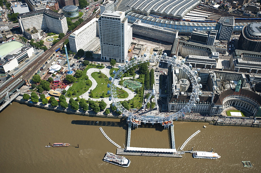 Aerial view of the London Eye and River Thames, London, England, United Kingdom, Europe