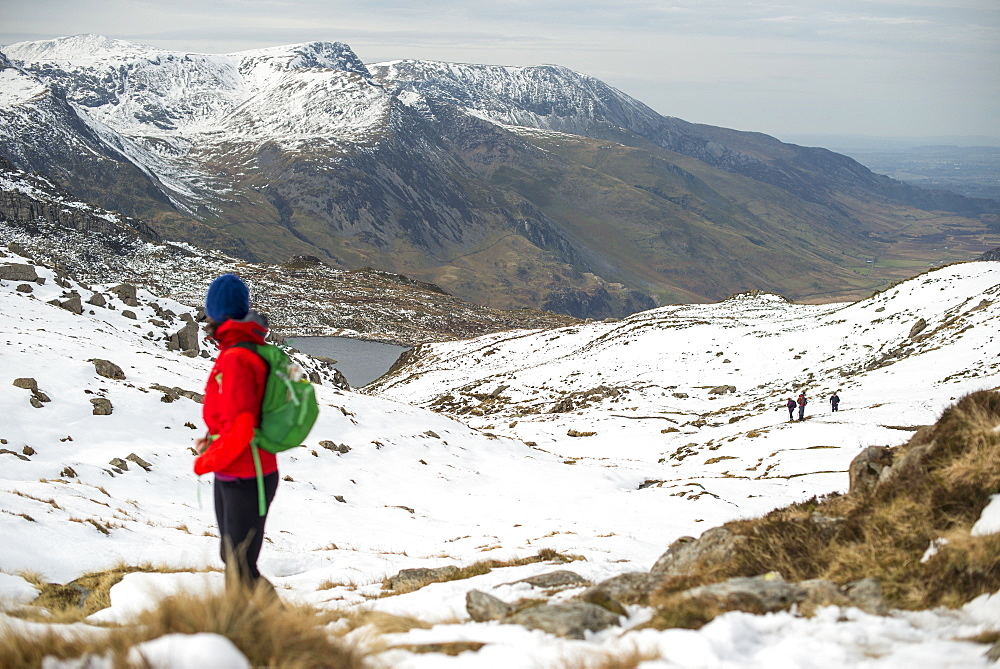 Trekking the trail towards Tryfan in Snowdonia, Wales, United Kingdom, Europe