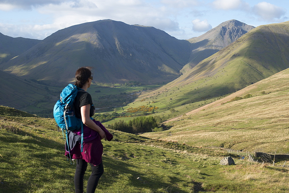 Trekking in the English Lake District in Wast Water with views of Kirk Fell and Great Gable in the distance, Lake District National Park, Cumbria, England, United Kingdom, Europe