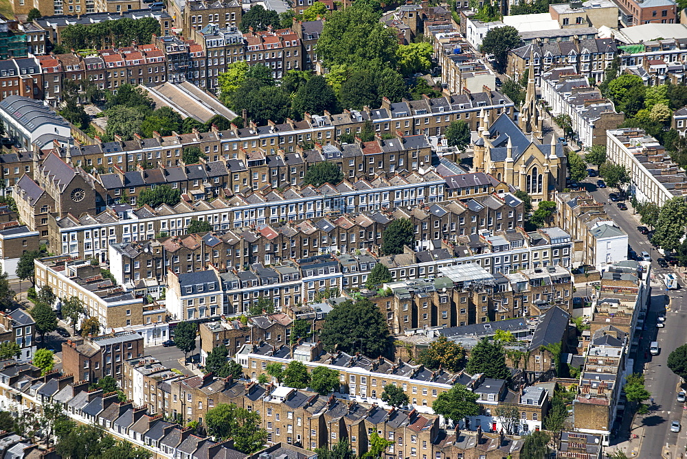 Rows of Victorian terraced houses in London, England, United Kingdom, Europe