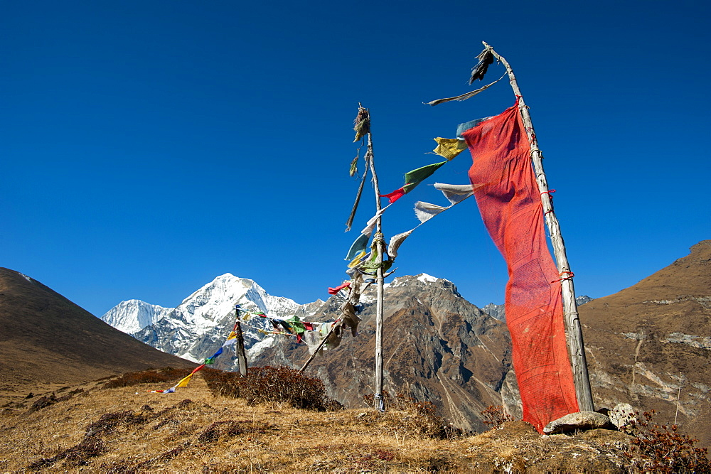 Prayers flags on the Lasa-Gasa trekking route, Thimpu District, Bhutan, Asia