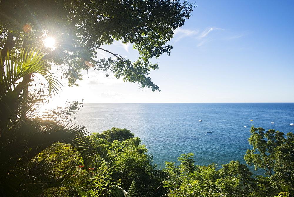 Sunset at Castara Bay in Tobago, Trinidad and Tobago, West Indies, Caribbean, Central America
