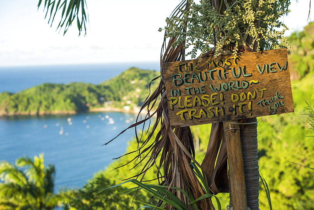 A sign asking readers not to trash the most beautiful view in the world at Castara Bay in Tobago, Trinidad and Tobago, West Indies, Caribbean, Central America - 1225-354
