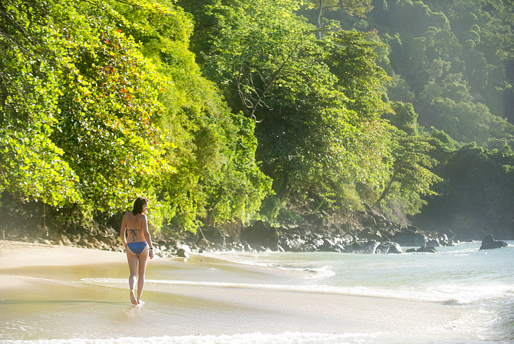 A woman walking on the beach at Castara Bay on the Caribbean island of Tobago, Trinidad and Tobago, West Indies, Caribbean, Central America - 1225-360