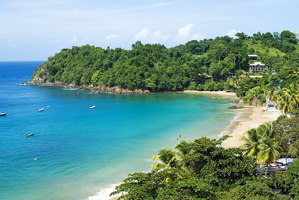 The beach at Castara Bay in Tobago, Trinidad and Tobago, West Indies, Caribbean, Central America