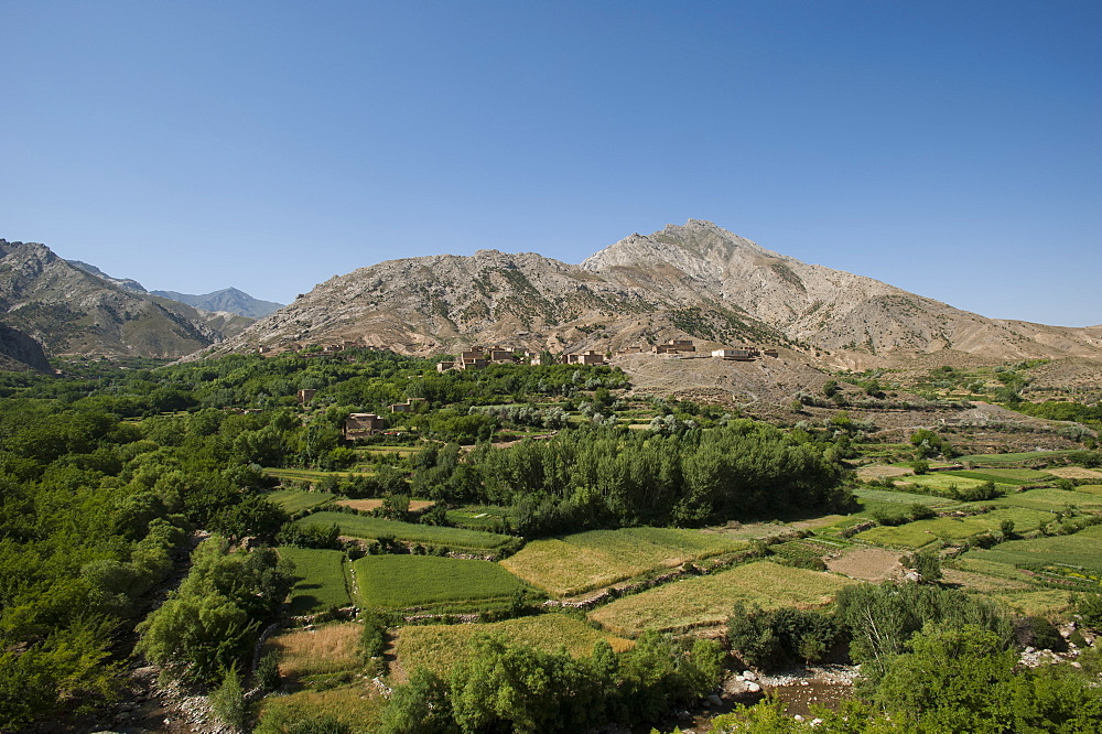 A village and terraced fields of wheat and potatoes in the Panjshir valley in Afghanistan, Asia