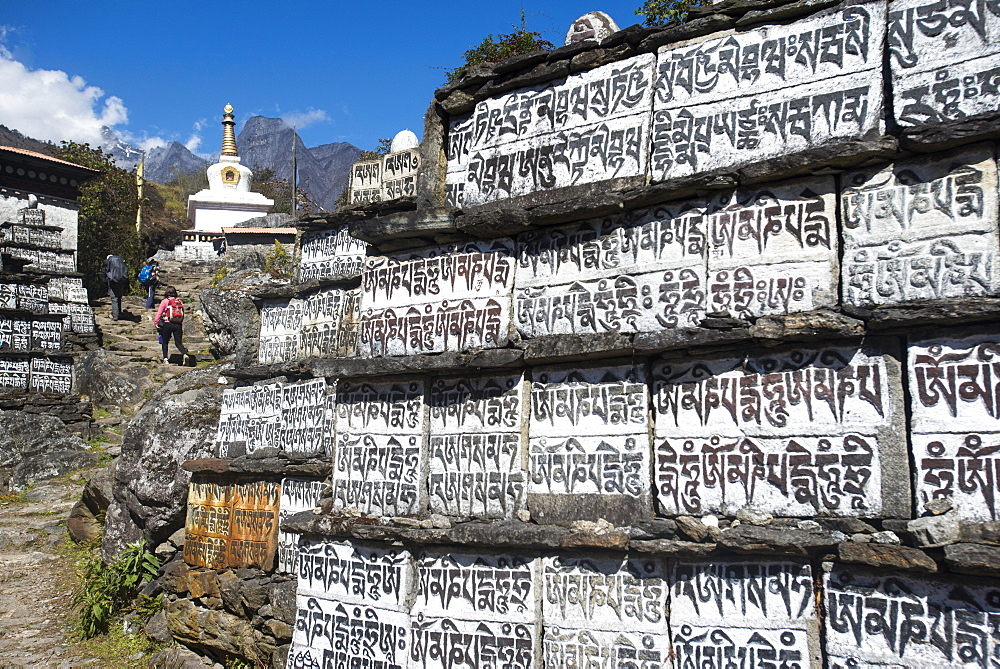 Mani stones inscribed with an ancient Buddhist mantra decorate the trail to Everest Base Camp, Khumbu Region, Nepal, Himalayas, Asia