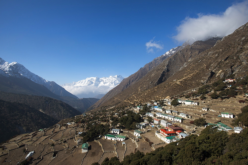 The old village of Pangboche on the Everest Base Camp trek, Nepal, Himalayas, Asia
