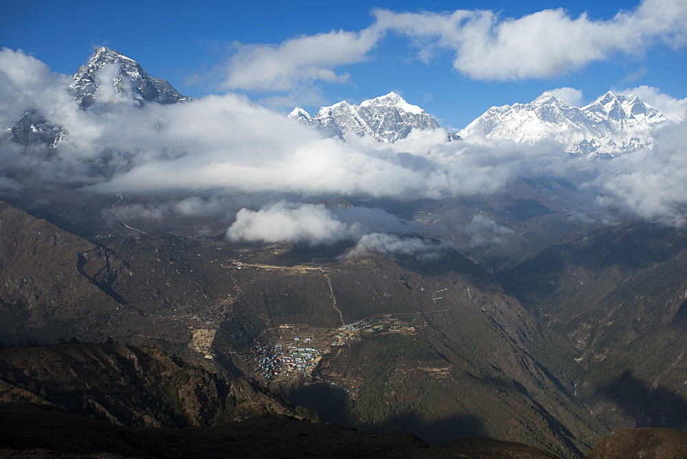 A view from Kongde looking down on Namche, the biggest village in Khumbu (Everest) Region, Nepal, Himalayas, Asia