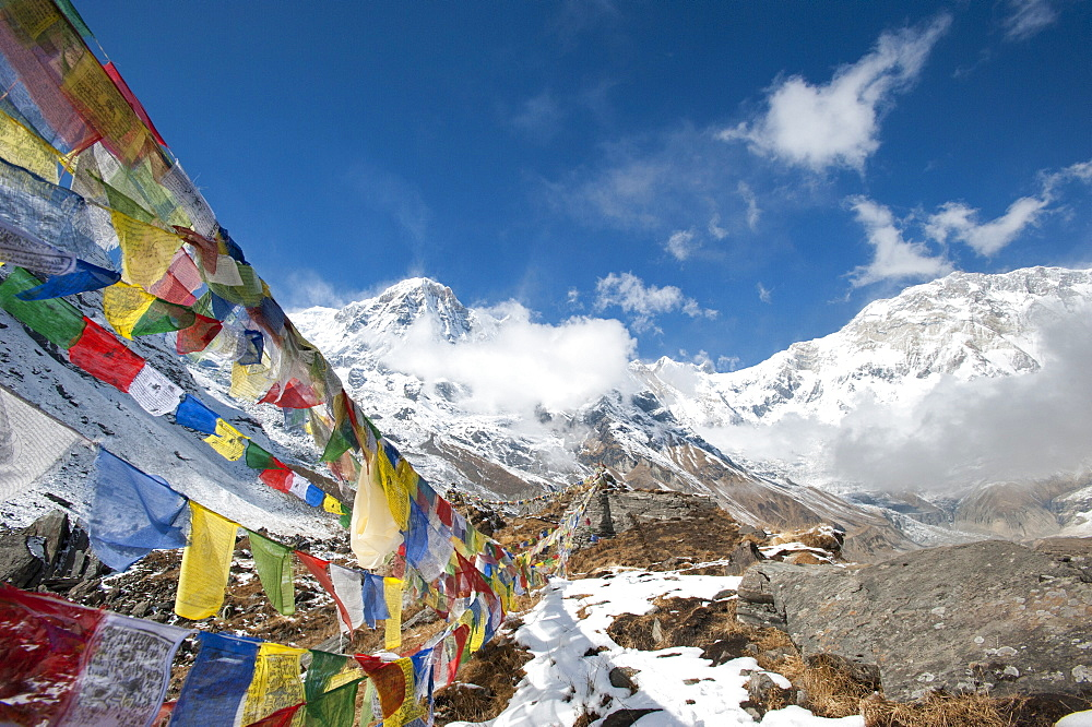 Buddhist prayer flags at Annapurna Base Camp, Nepal, Himalayas, Asia