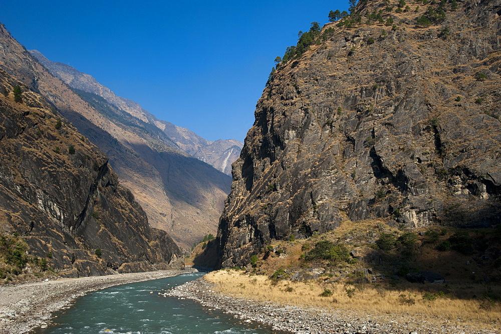 The Kali Gandaki is one of the major rivers of Nepal, Manaslu Region, Nepal, Himalayas, Asia