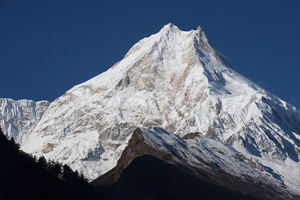 At 8156m, Manaslu is the eighth highest mountain in the world, and a magnificent sight, Nepal, Himalayas, Asia