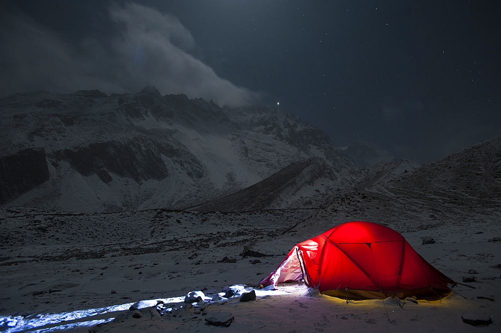 Taken on a freezing Christmas eve in the Manaslu region, Nepal, Himalayas, Asia