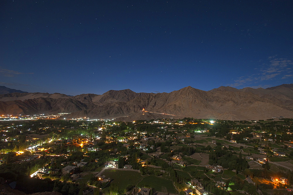 Leh, the capital city of Ladakh in India glows at night