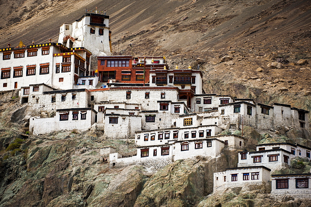 Monasteries in Ladakh are often perched on hilltops or rocky outcrops, Diskit, Nubra Valley, Ladakh, India, Asia
