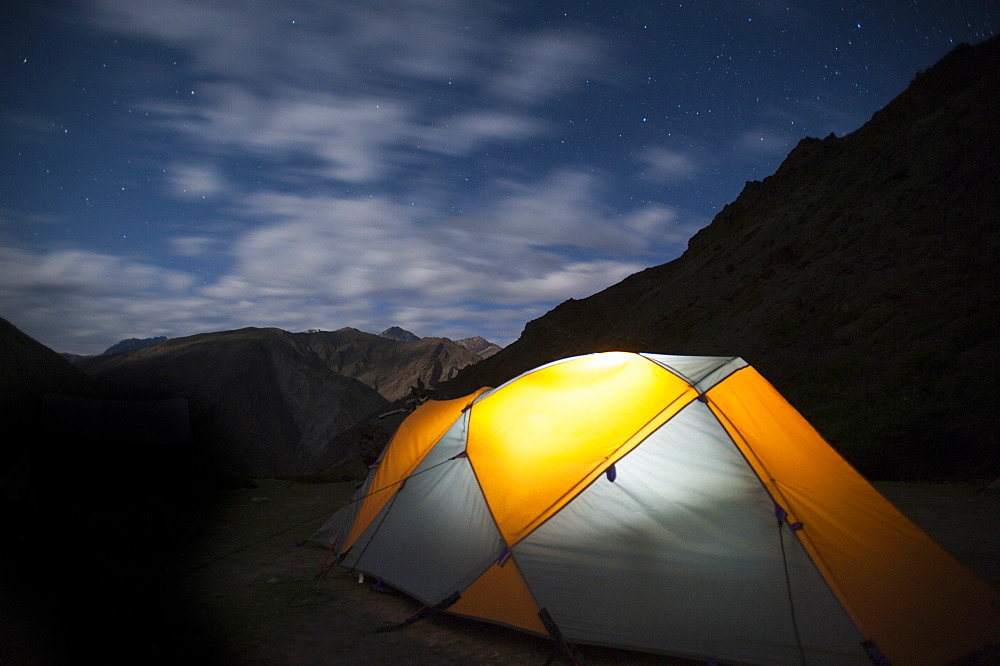 Camped under the stars during the Hidden Valleys trek, Ladakh, India, Asia
