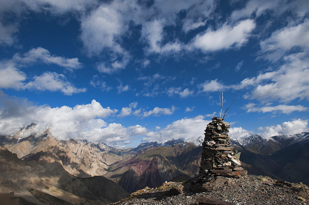 A cairn on top of the Dung Dung La in Ladakh, a remote Himalayan region in north India, Asia