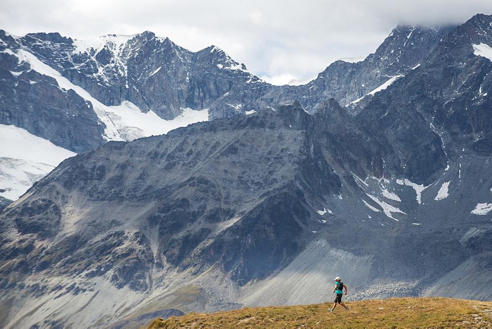 Ultra running in the Swiss Alps near Zermatt, Valais, Switzerland, Europe