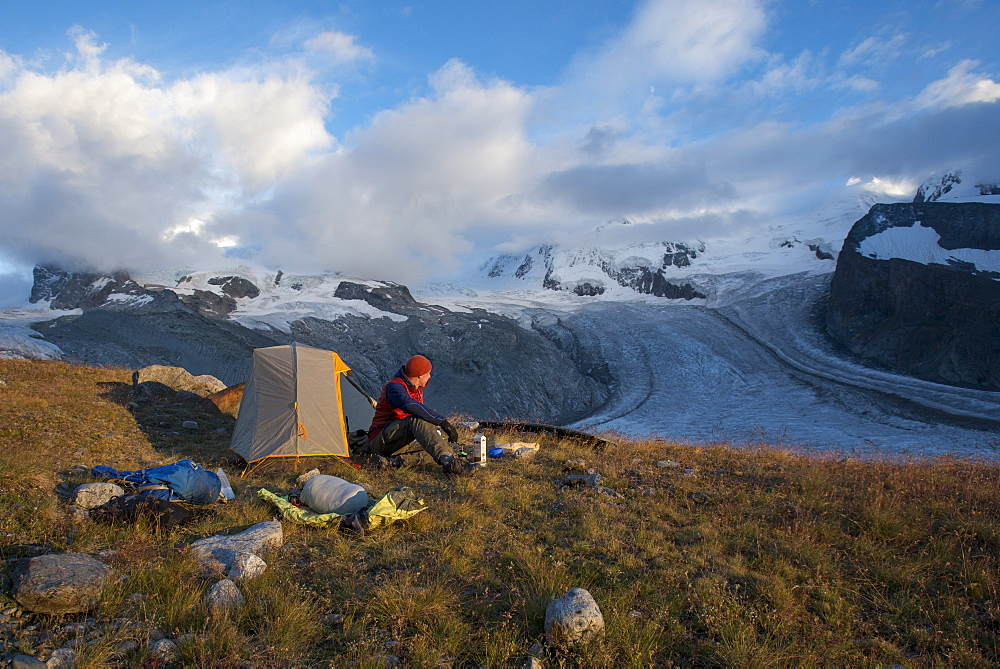 Camped beside the Gorner Glacier in Switzerland with views of Monte Rosa in the distance
