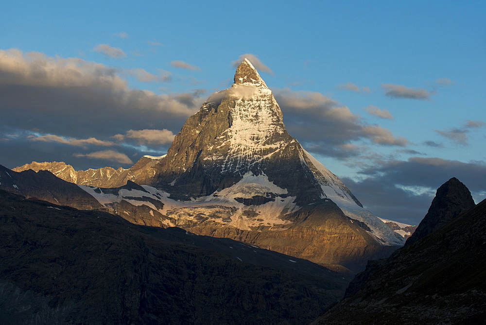 The Matterhorn in the Swiss Alps seen from beside the Gorner glacier not far from Zermatt in Switzerland
