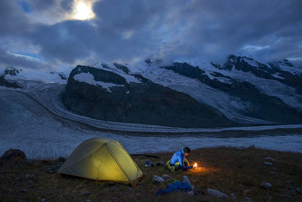 Camped beside the Gornergletscher in Switzerland at the foot of Monte Rosa