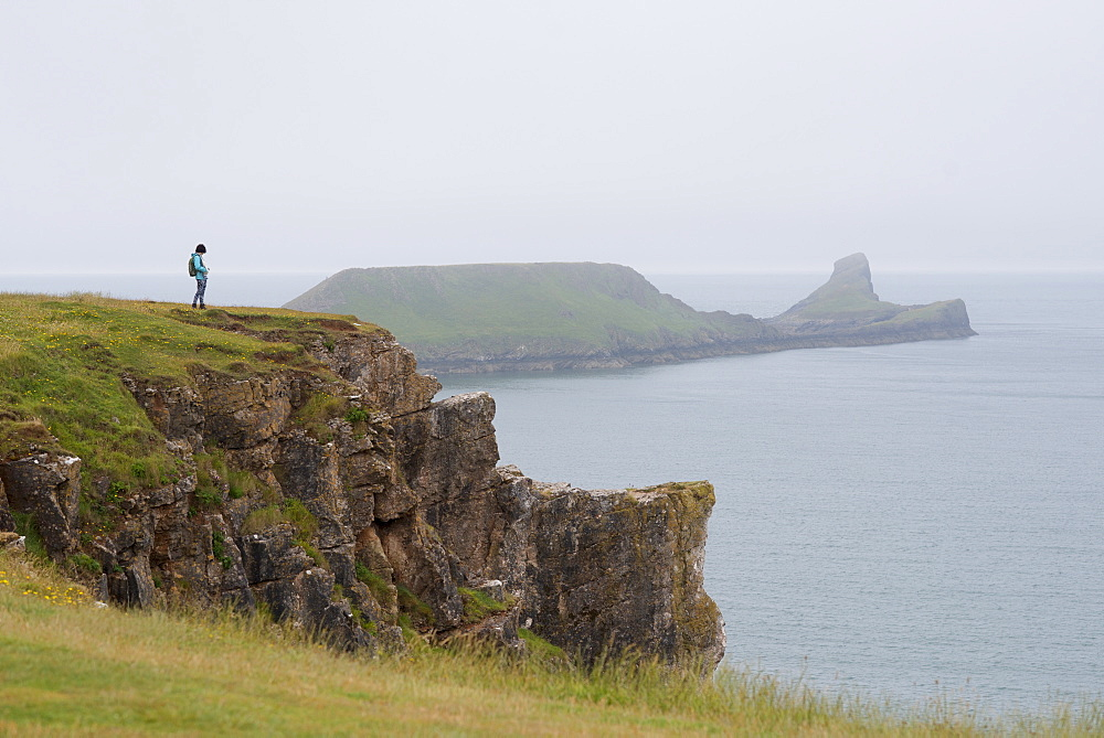 Looking towards Worms Head from Rhossili Bay on The Gower, South Wales, United Kingdom, Europe