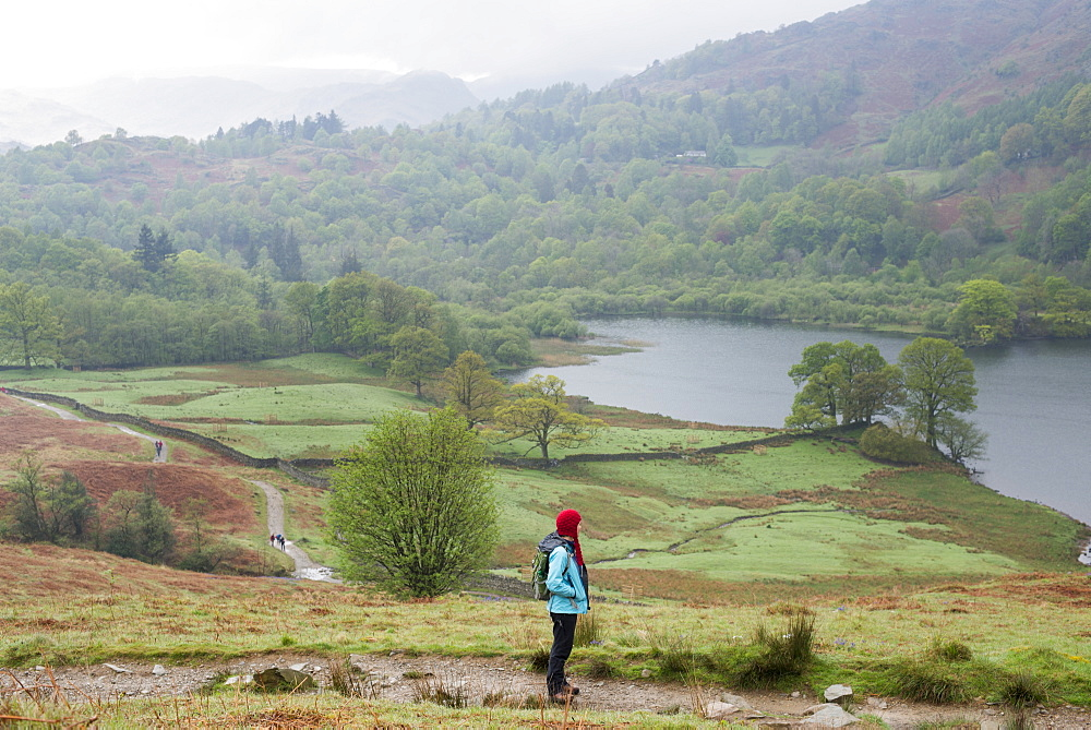 A woman looks out over Rydal Water near Grasmere in The Lake District