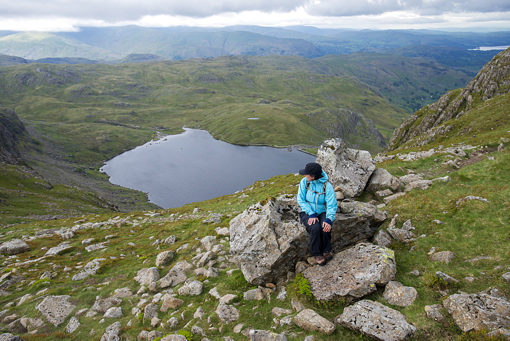 Looking down on Stickle Tarn near Great Langdale in the Lake District