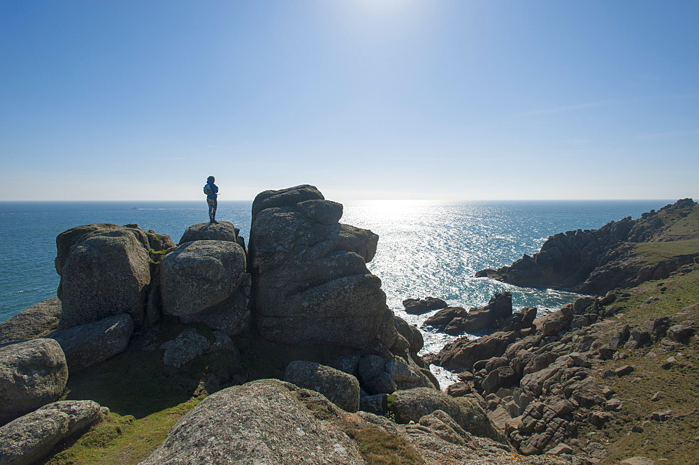 Standing near Logan Rock at the top of Treen beach in Cornwall, the westernmost part of the British Isles