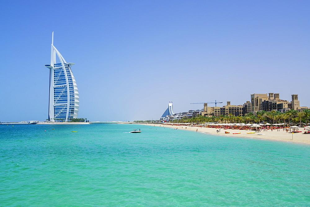 Burj Al Arab hotel, iconic Dubai landmark, Jumeirah Beach, Dubai, United Arab Emirates, Middle East - 1226-147