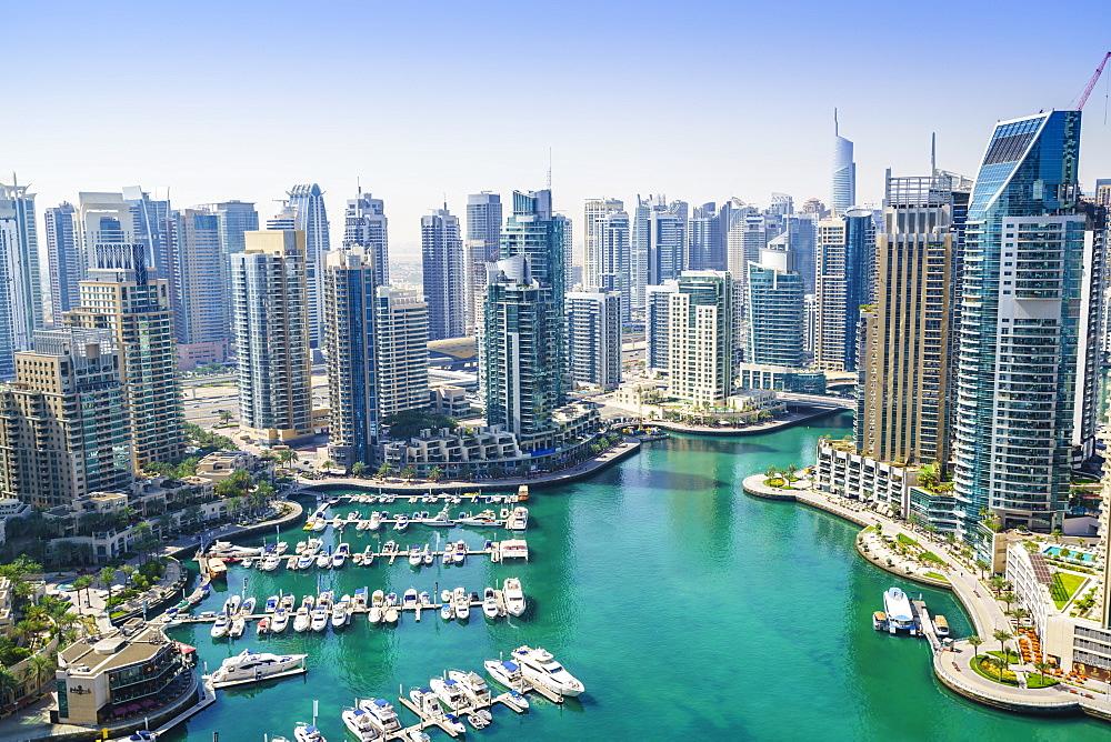 High view of Dubai Marina, Dubai, United Arab Emirates, Middle East - 1226-153