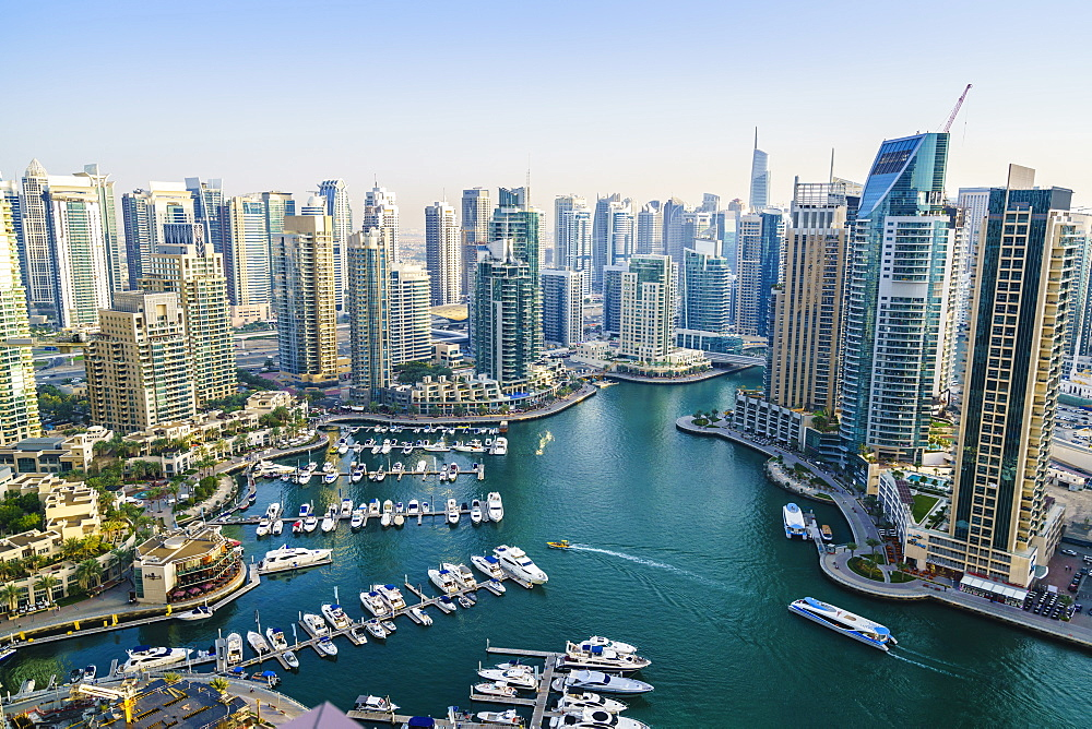 High view of Dubai Marina, Dubai, United Arab Emirates, Middle East