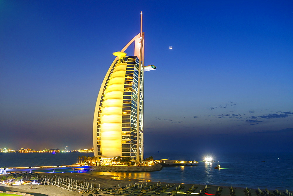 Burj Al Arab hotel at night, iconic Dubai landmark, Jumeirah Beach, Dubai, United Arab Emirates, Middle East