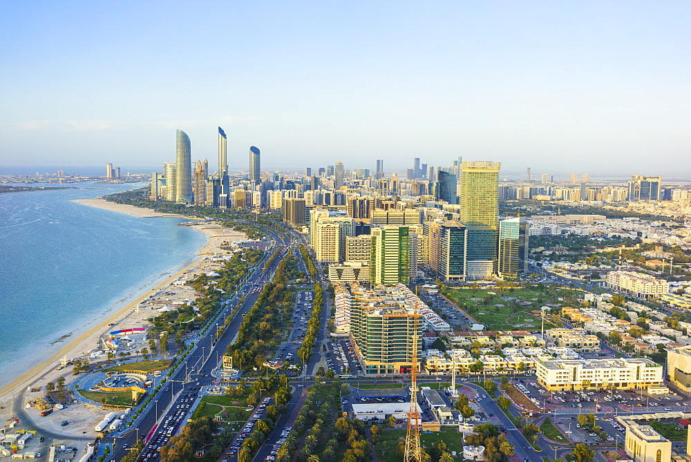 Skyline and Corniche, Al Markaziyah district, Abu Dhabi, United Arab Emirates, Middle East