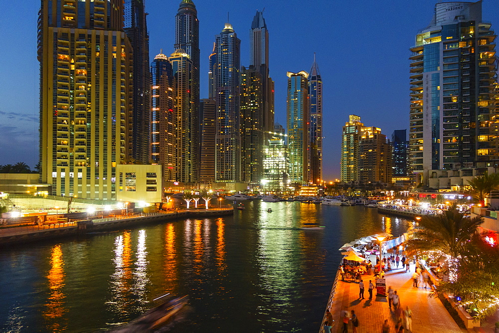 Dubai Marina by night, Dubai, United Arab Emirates, Middle East