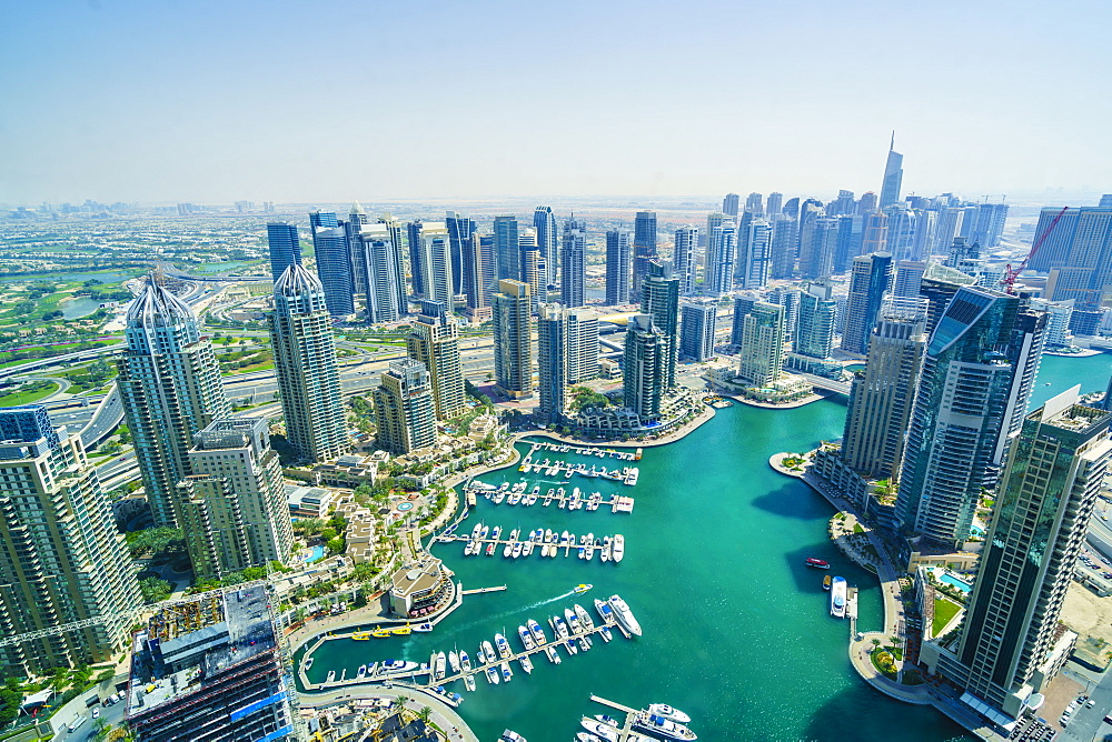 High view of Dubai Marina, Dubai, United Arab Emirates