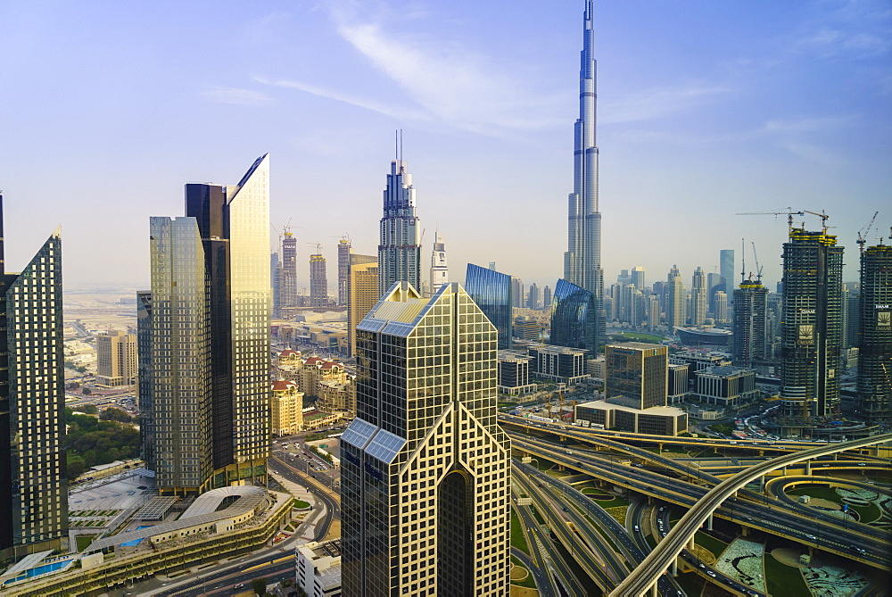 Burj Khalifa and Sheikh Zayed Road Interchange, Downtown Dubai, Dubai, United Arab Emirates, Middle East