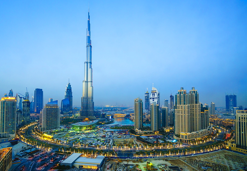 Burj Khalifa and Downtown Dubai at dusk, Dubai, United Arab Emirates, Middle East